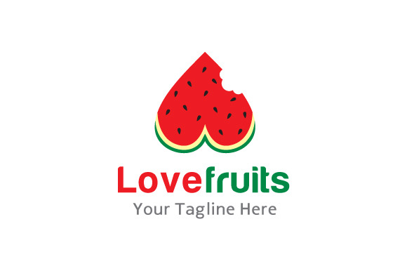 Love Fruits Logo Template Design