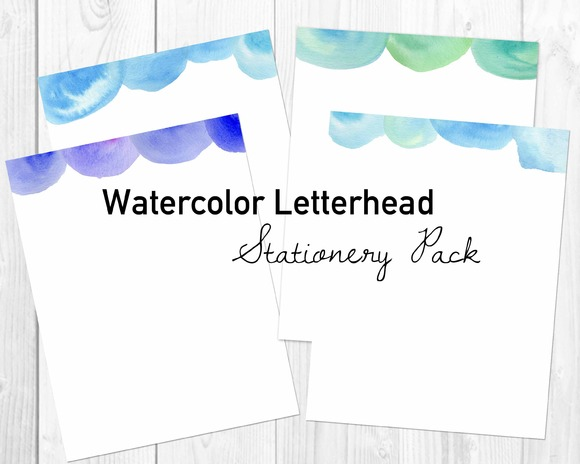 Watercolor Letterhead Stationery Pac