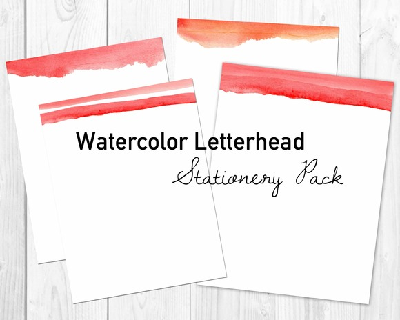 Red Watercolor Stationery Letterhead