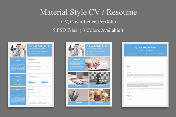 Material Style CV Resume