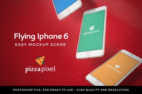 Mockup Iphone 6 Flying Scene