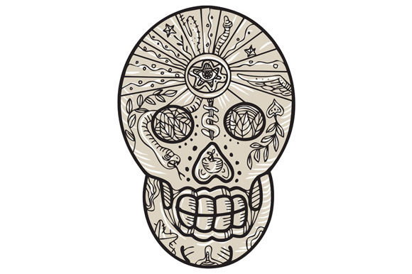 Sugar Skull Tattoo Etching