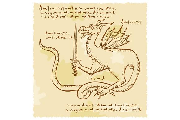 Dragon Holding Sword Etching