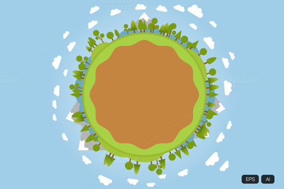 Forest In Earth Circle Shape Vector