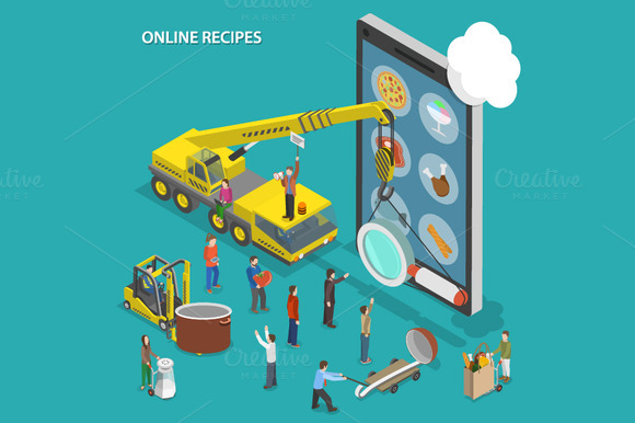 Online Recipes Isometric Concept