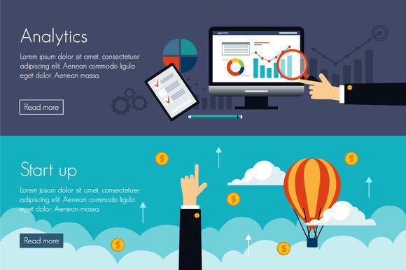 Flat Banner Analytics And Start-up