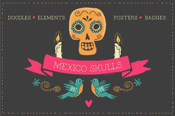Mexico Skull Doodles Elements