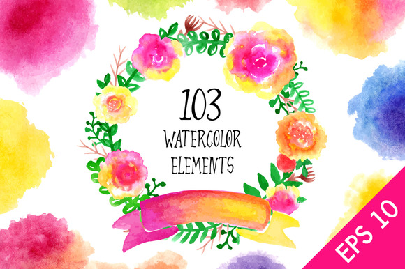 103 Watercolor Elements Big Set