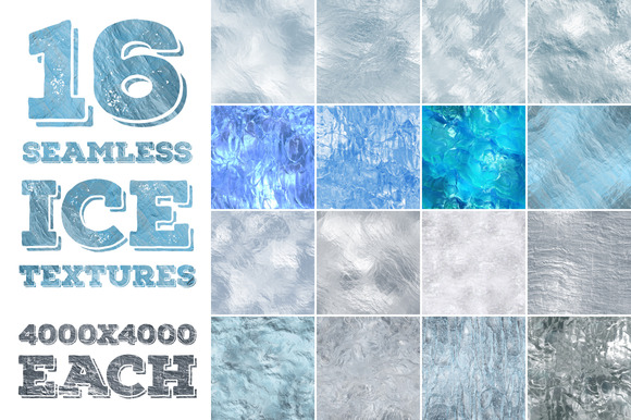 16 Seamless Ice Textures High Res