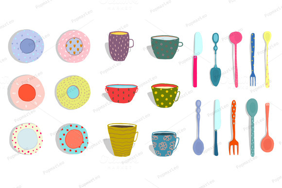 Cups Mugs Plates Dishes Silverware