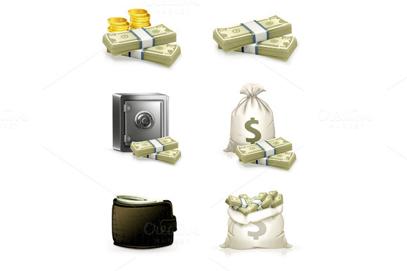 Paper Money And Coins Icons