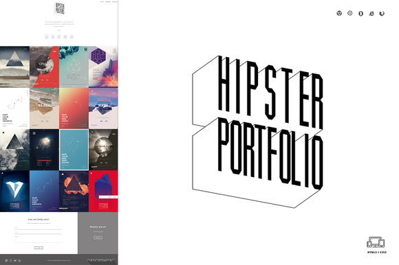 Hipster Portfolio One Page HTML