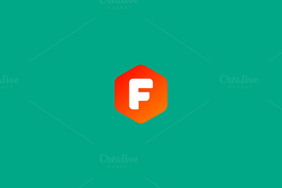 Abstract Letter F Hexagon Logo