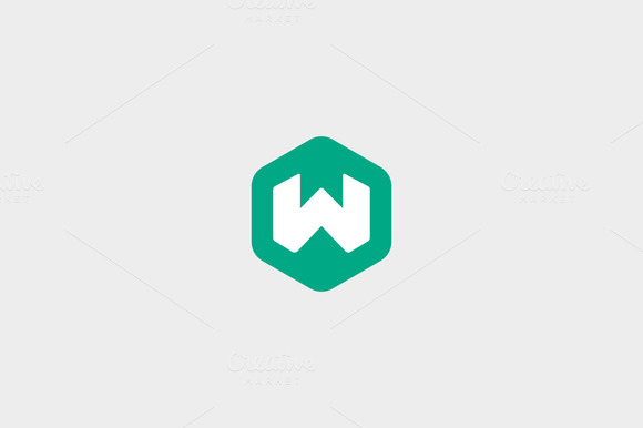 Abstract Letter W Hexagon Logo