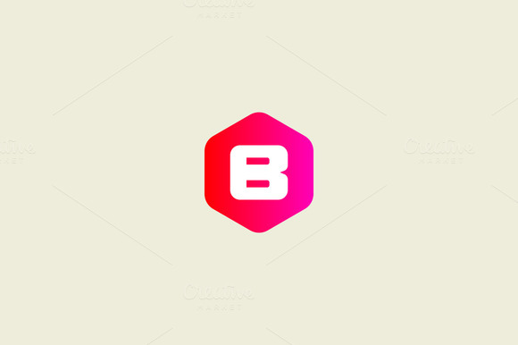 Abstract Letter B Hexagon Logo