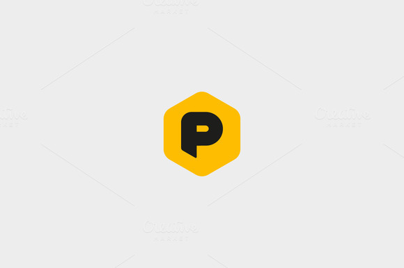 Abstract Letter P Hexagon Logo