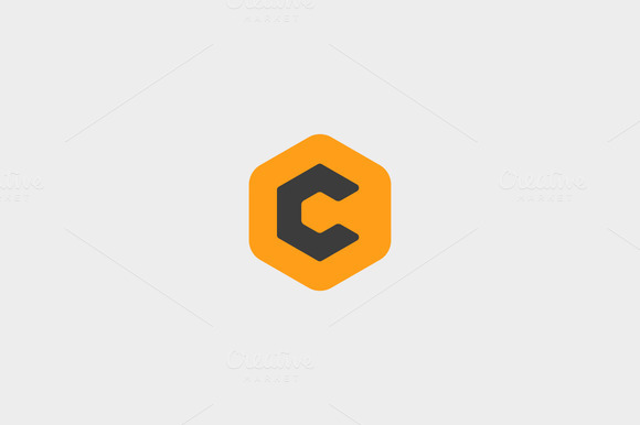 Abstract Letter C Hexagon Logo