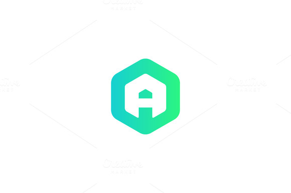 Abstract Letter A Hexagon Logo
