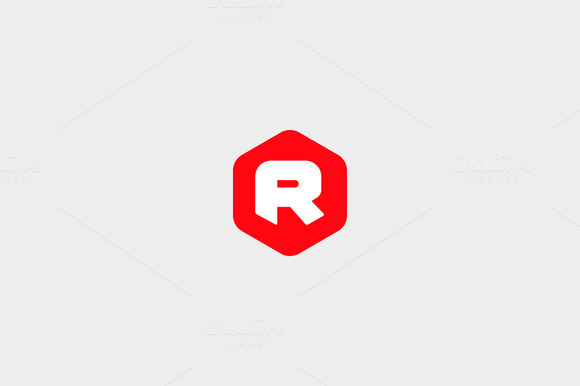 Abstract Letter R Hexagon Logo