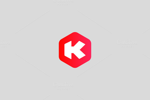 Abstract Letter K Hexagon Logo