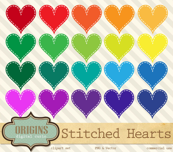 Stitched Rainbow Hearts Cliparts