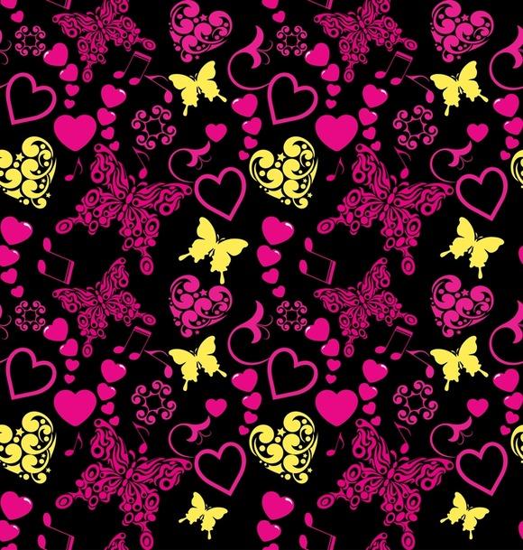 Wallpaper Pattern Butterfly Love