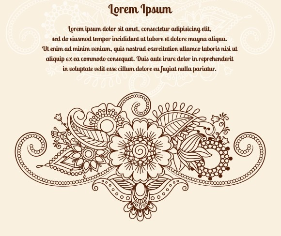 Floral Henna Indian Mehndi Card