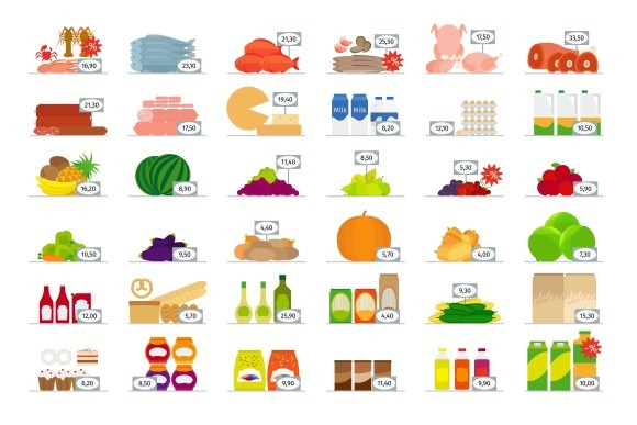 Food Market Flat Icons