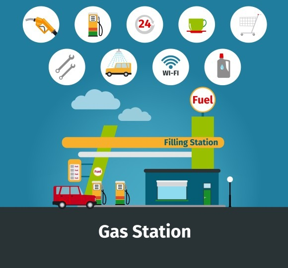 Gas Station With Car Service Icons