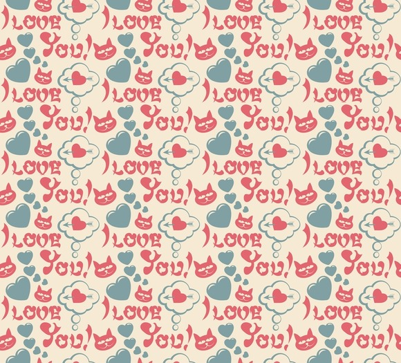 Love Hearts Modern Wallpaper