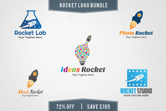 5 In 1 Rocket Logo Bundle