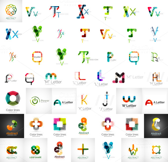 Large Set Of Letter Logos