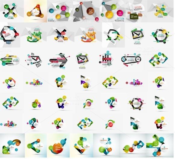 Trendy Geometric Infographics Set