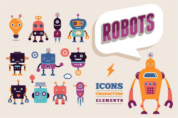 Vintage Robots Set