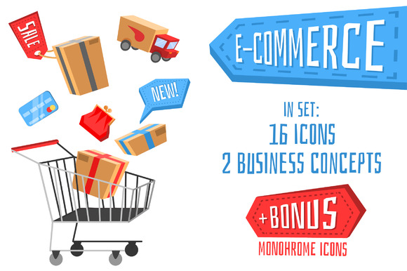 E-commerce Icon Set For Online Store