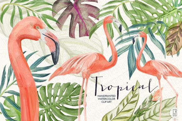 Watercolor Tropical Leaves Flamingo