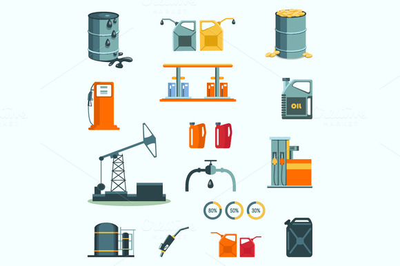 Oil And Petrol Industry Vector Icons