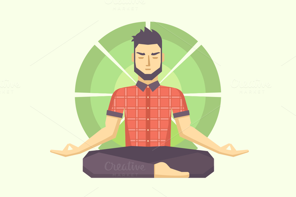 Man Meditates In The Lotus Position