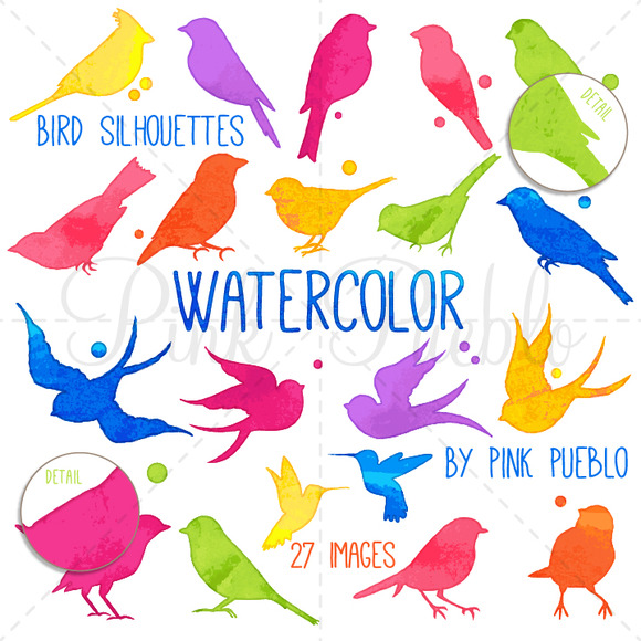 Watercolor Bird Silhouettes Clipart