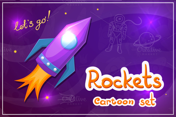 Set Cartoon Rockets