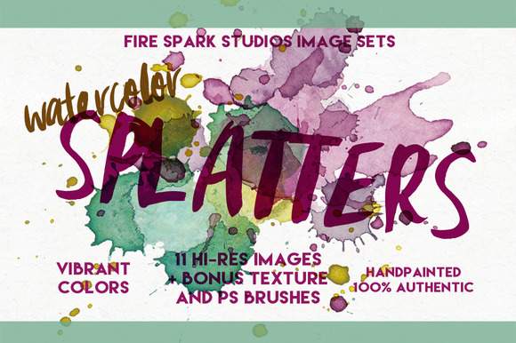 Watercolor Splatter Image Set