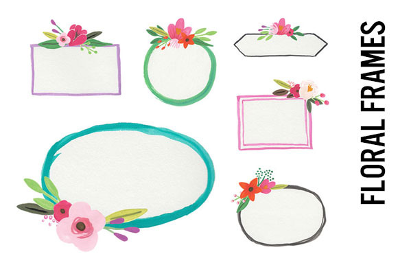 Watercolor Flower Frames Clip Art