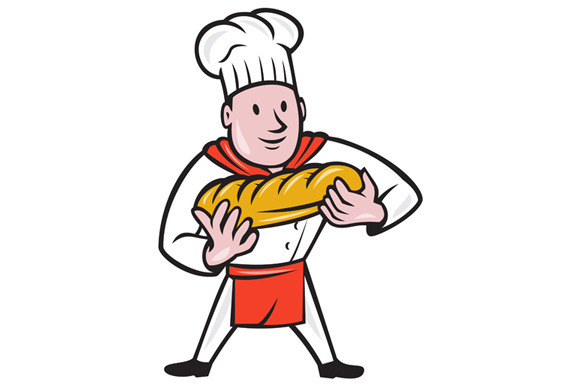 Baker Holding Bread Loaf Isolated Ca