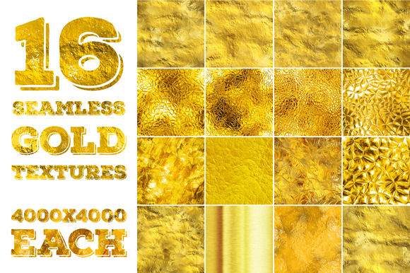 16 Seamless Gold Textures High Res