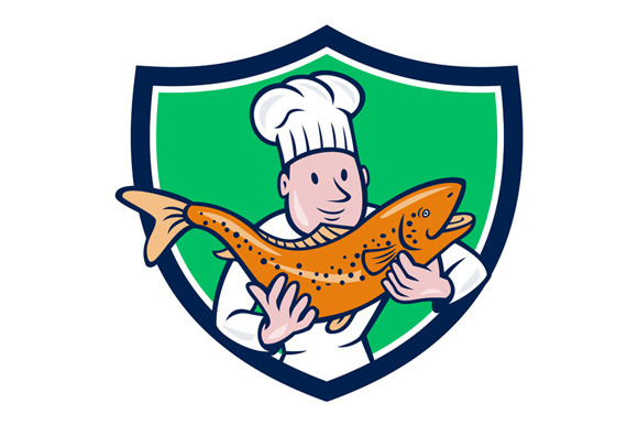 Chef Cook Holding Trout Fish Shield