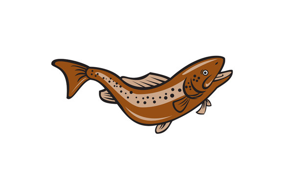 Brown Spotted Trout Jumping Cartoon