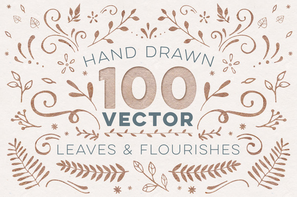 100 Vector Leaves Flourishes