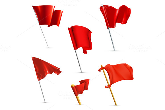 Red Flags Vector Icons