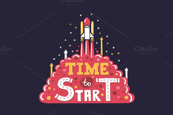 Time To Start Vintage Poster Quote