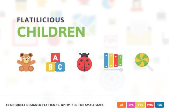 Children Flat Icons